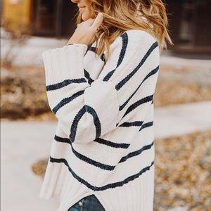 Blue and cream striped Chenille Sweater